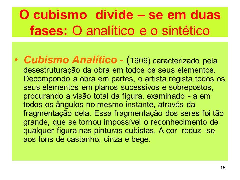 O cubismo divide – se em duas fases: O analítico e o sintético