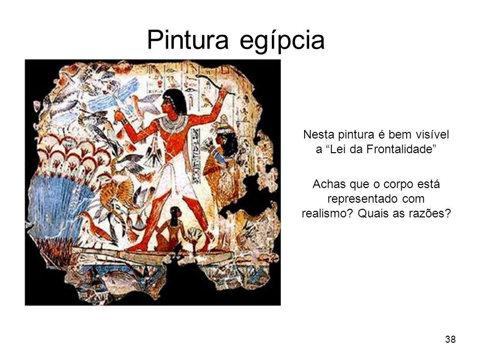 Pintura egípcia Nesta pintura é bem visível a Lei da Frontalidade