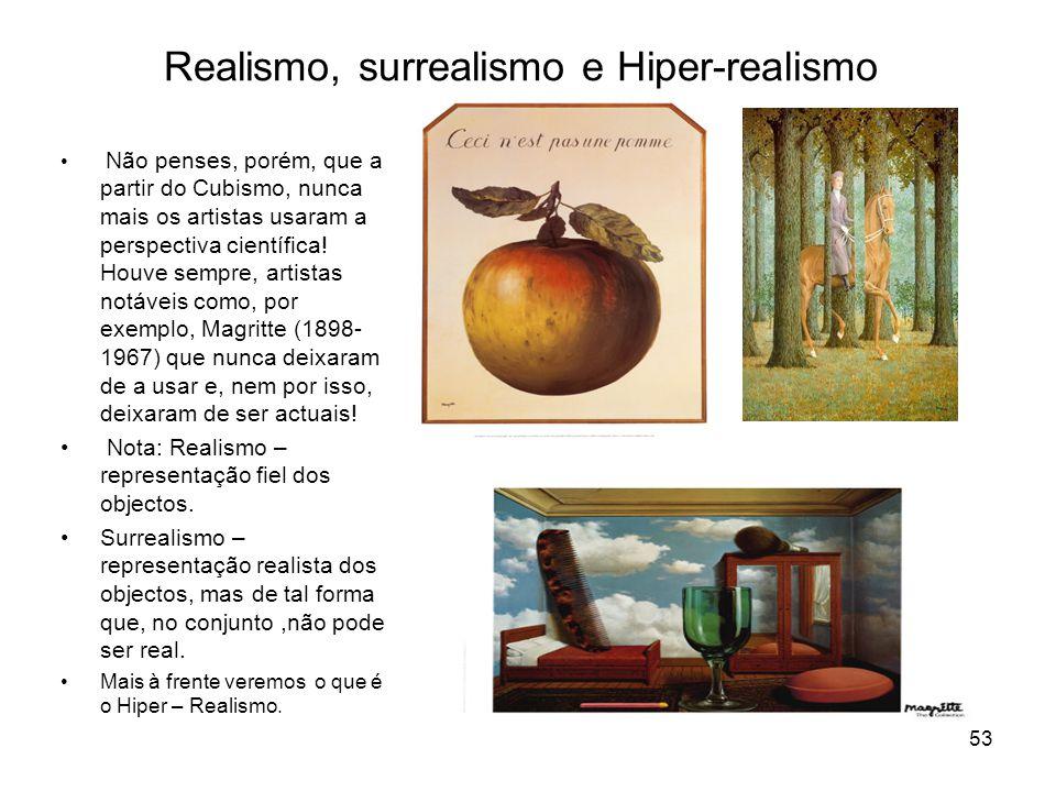 Realismo, surrealismo e Hiper-realismo