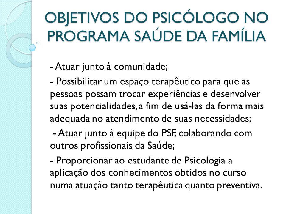 OBJETIVOS DO PSICÓLOGO NO PROGRAMA SAÚDE DA FAMÍLIA