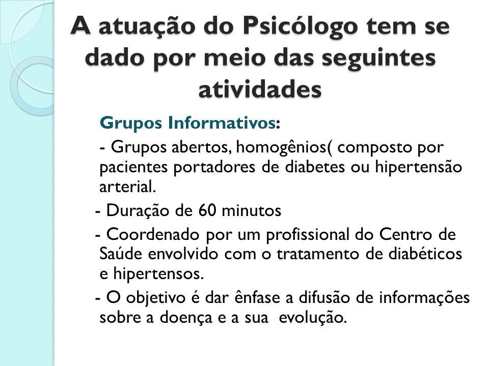 A atuação do Psicólogo tem se dado por meio das seguintes atividades