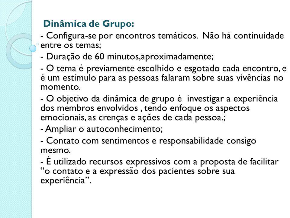 Dinâmica de Grupo: - Configura-se por encontros temáticos. Não há continuidade entre os temas; - Duração de 60 minutos,aproximadamente;