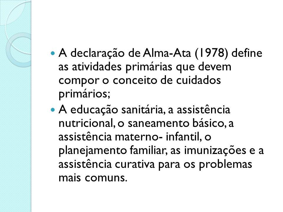 A declaração de Alma-Ata (1978) define as atividades primárias que devem compor o conceito de cuidados primários;