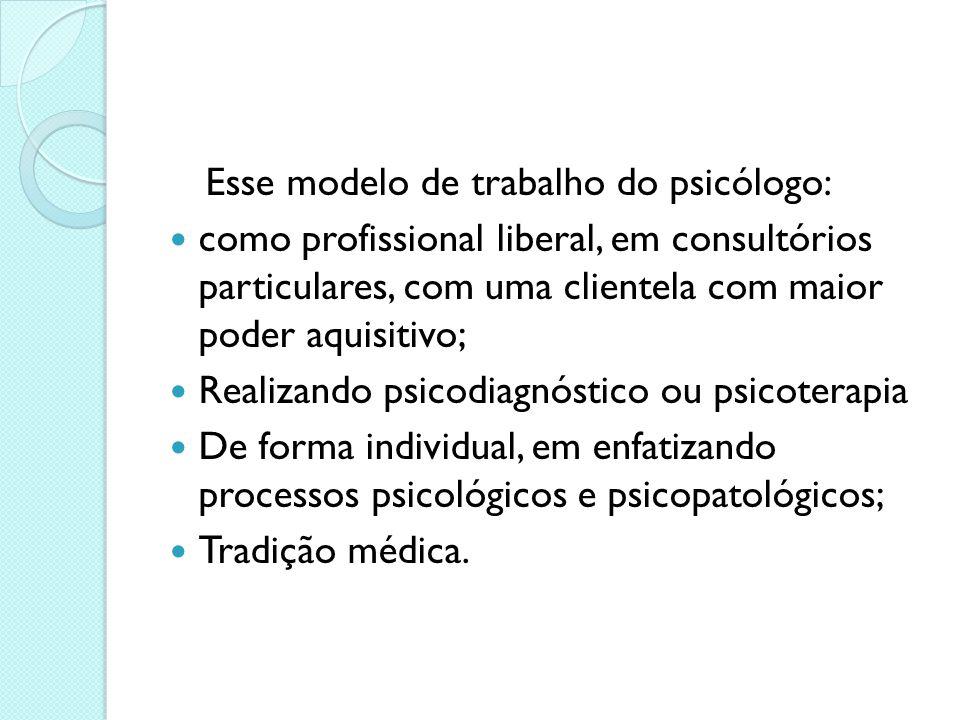 Esse modelo de trabalho do psicólogo: