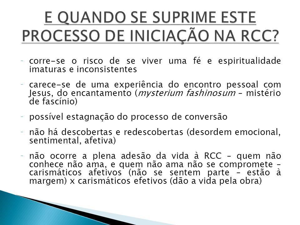 E QUANDO SE SUPRIME ESTE PROCESSO DE INICIAÇÃO NA RCC