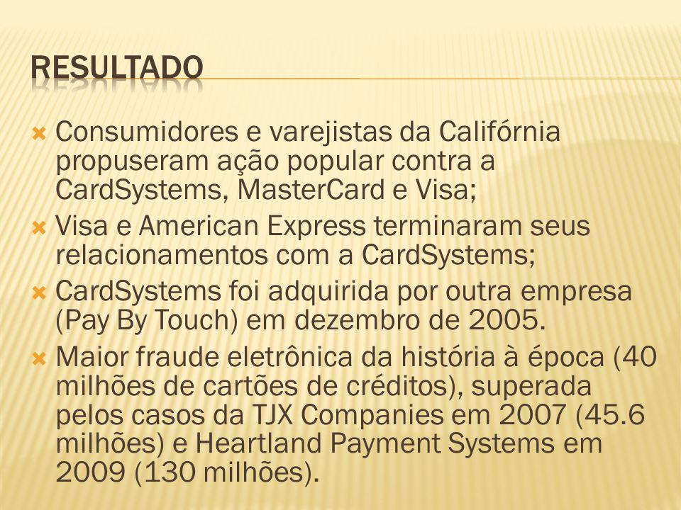RESULTADO Consumidores e varejistas da Califórnia propuseram ação popular contra a CardSystems, MasterCard e Visa;