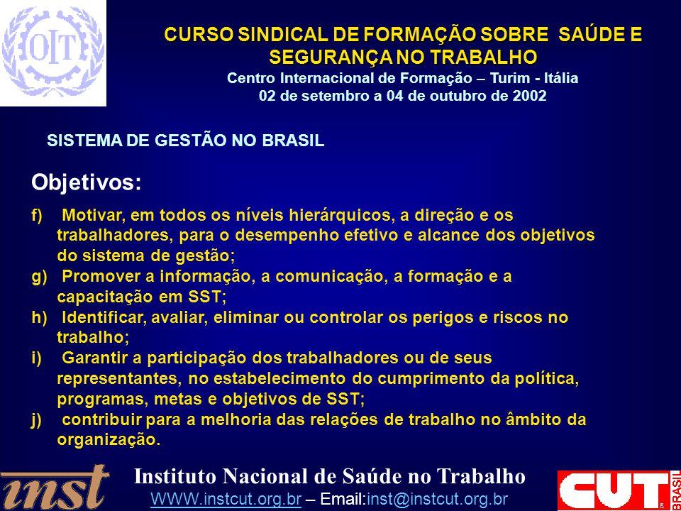 Objetivos: SISTEMA DE GESTÃO NO BRASIL