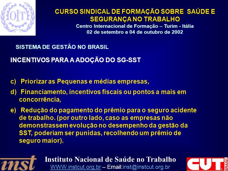INCENTIVOS PARA A ADOÇÃO DO SG-SST