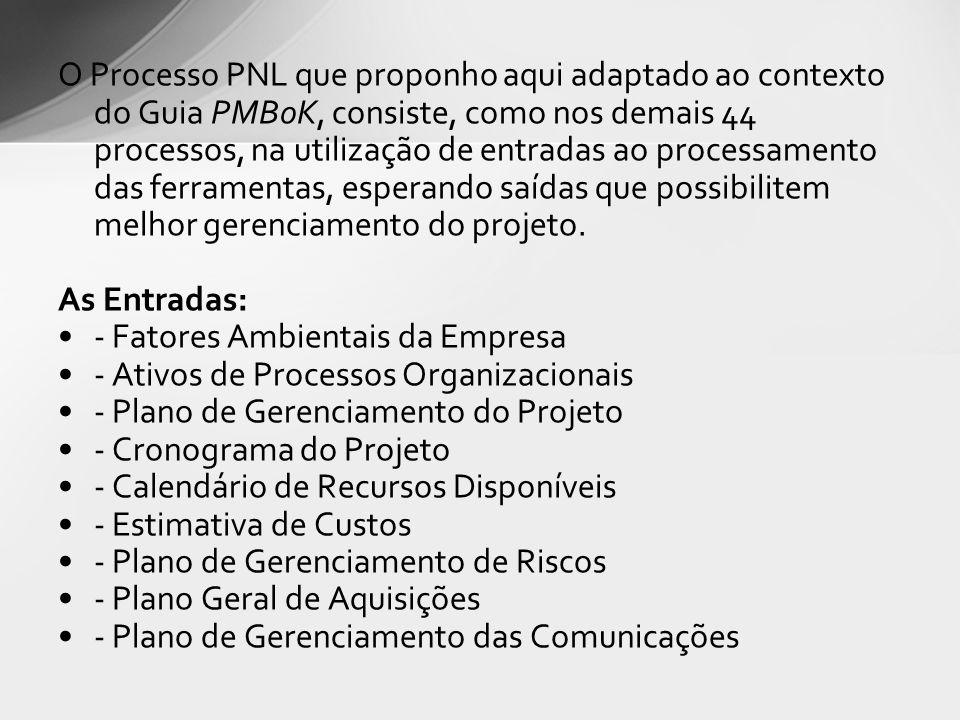 O Processo PNL que proponho aqui adaptado ao contexto do Guia PMBoK, consiste, como nos demais 44 processos, na utilização de entradas ao processamento das ferramentas, esperando saídas que possibilitem melhor gerenciamento do projeto.
