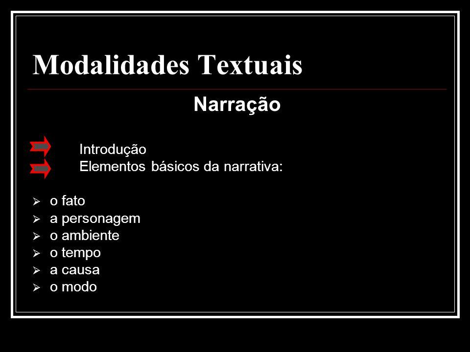 Modalidades Textuais Narração Introdução