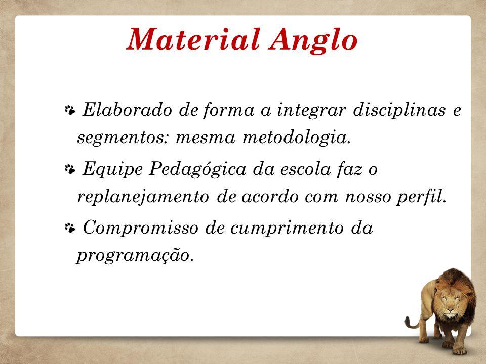 Material Anglo Elaborado de forma a integrar disciplinas e segmentos: mesma metodologia.