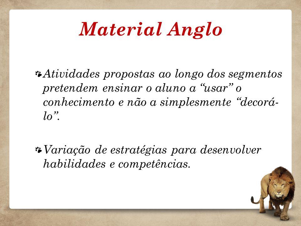 Material Anglo Atividades propostas ao longo dos segmentos pretendem ensinar o aluno a usar o conhecimento e não a simplesmente decorá-lo .