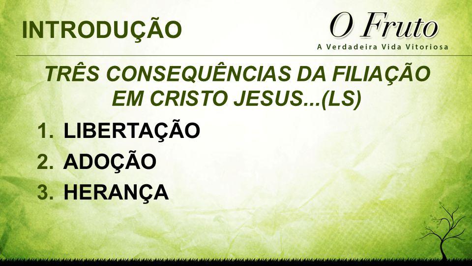 TRÊS CONSEQUÊNCIAS DA FILIAÇÃO EM CRISTO JESUS...(LS)