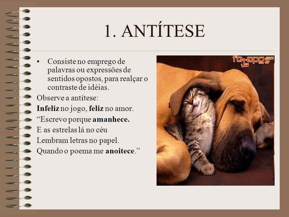 1. ANTÍTESE Consiste no emprego de palavras ou expressões de sentidos opostos, para realçar o contraste de idéias.