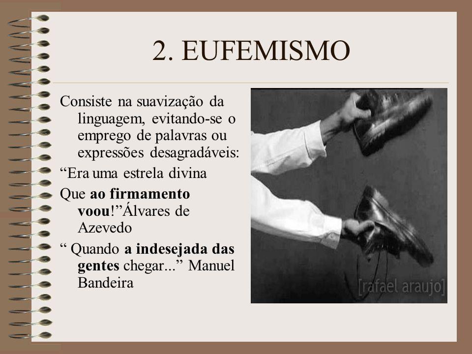 2. EUFEMISMO Consiste na suavização da linguagem, evitando-se o emprego de palavras ou expressões desagradáveis: