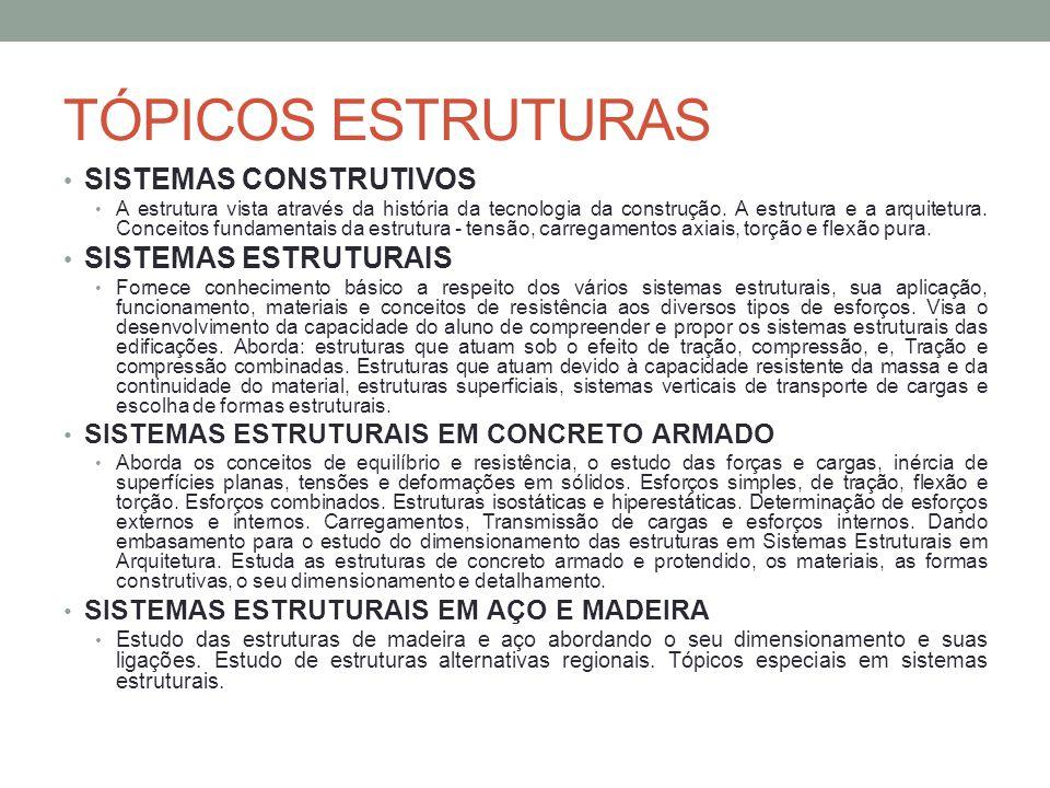 TÓPICOS ESTRUTURAS SISTEMAS CONSTRUTIVOS SISTEMAS ESTRUTURAIS