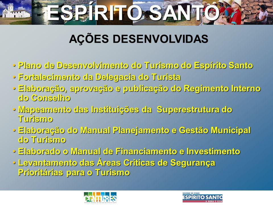 AÇÕES DESENVOLVIDAS Plano de Desenvolvimento do Turismo do Espírito Santo. Fortalecimento da Delegacia do Turista.