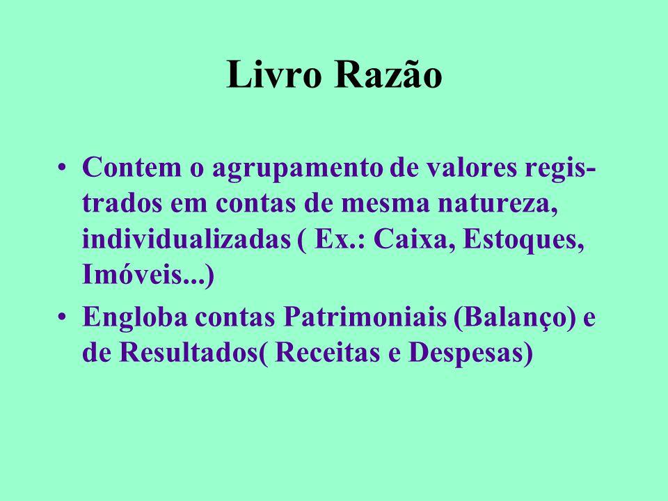 Livro Razão Contem o agrupamento de valores regis-trados em contas de mesma natureza, individualizadas ( Ex.: Caixa, Estoques, Imóveis...)