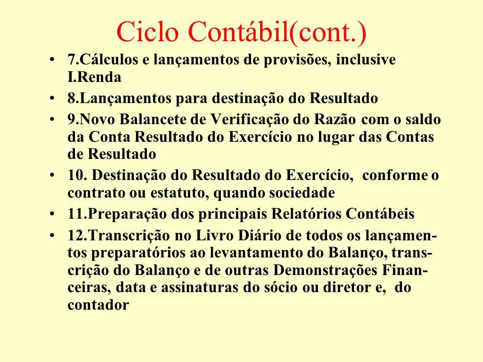 Ciclo Contábil(cont.) 7.Cálculos e lançamentos de provisões, inclusive I.Renda. 8.Lançamentos para destinação do Resultado.