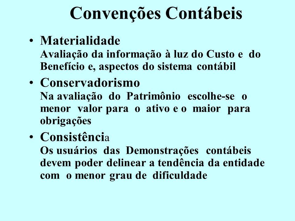 Convenções Contábeis Materialidade Avaliação da informação à luz do Custo e do Benefício e, aspectos do sistema contábil.