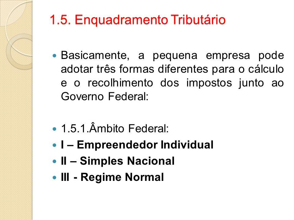 1.5. Enquadramento Tributário