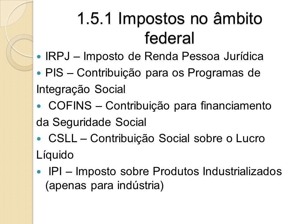 1.5.1 Impostos no âmbito federal