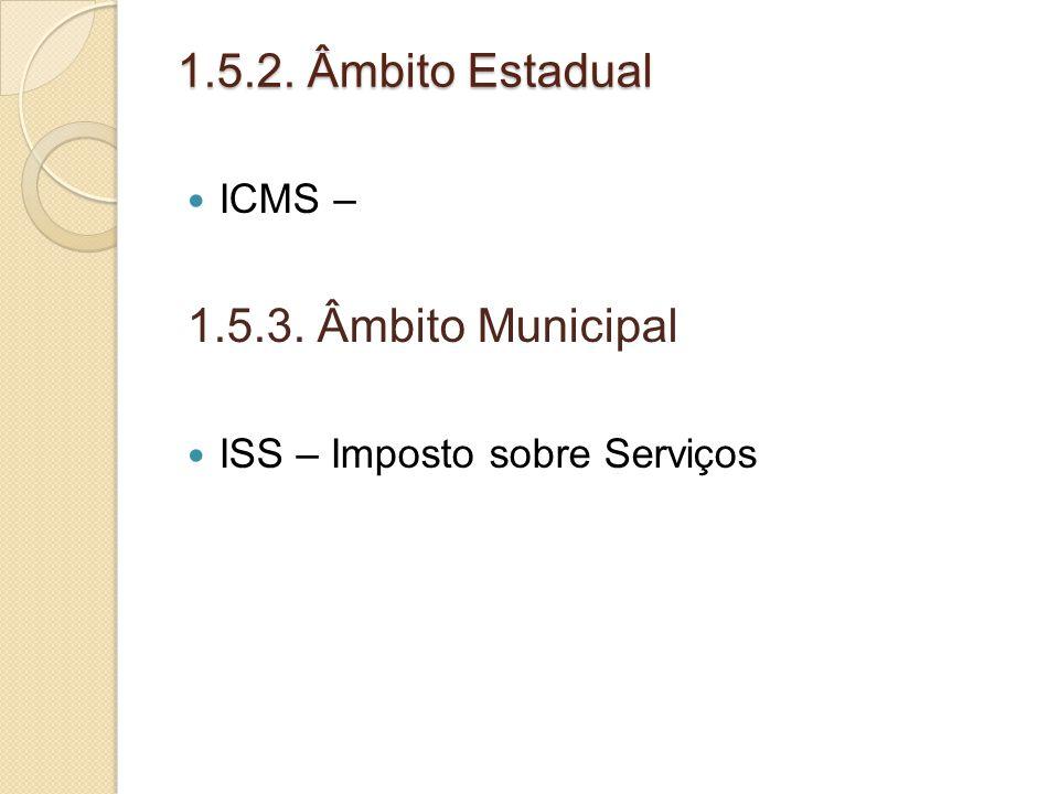 1.5.2. Âmbito Estadual 1.5.3. Âmbito Municipal ICMS –