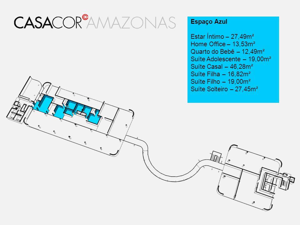 Espaço Azul Estar Íntimo – 27,49m². Home Office – 13,53m². Quarto do Bebê – 12,49m². Suíte Adolescente – 19,00m².