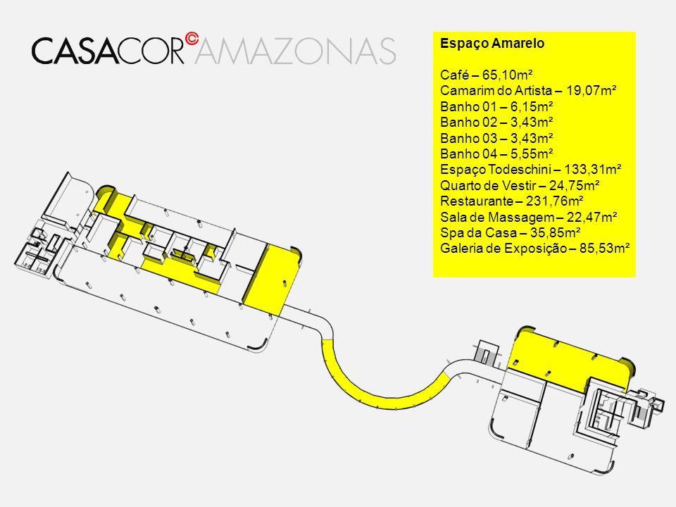 Espaço Amarelo Café – 65,10m². Camarim do Artista – 19,07m². Banho 01 – 6,15m². Banho 02 – 3,43m².