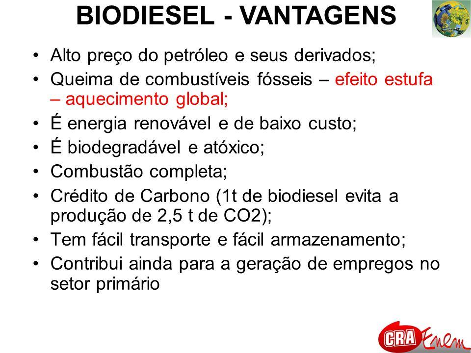 BIODIESEL - VANTAGENS Alto preço do petróleo e seus derivados;