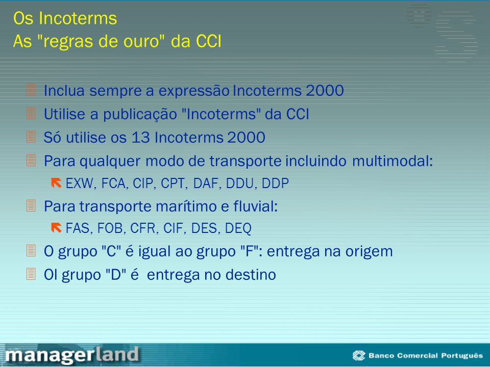 Os Incoterms As regras de ouro da CCI