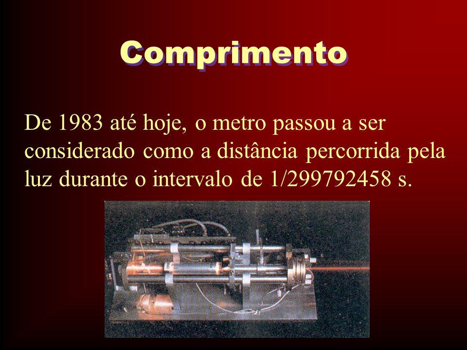 Comprimento De 1983 até hoje, o metro passou a ser considerado como a distância percorrida pela luz durante o intervalo de 1/299792458 s.