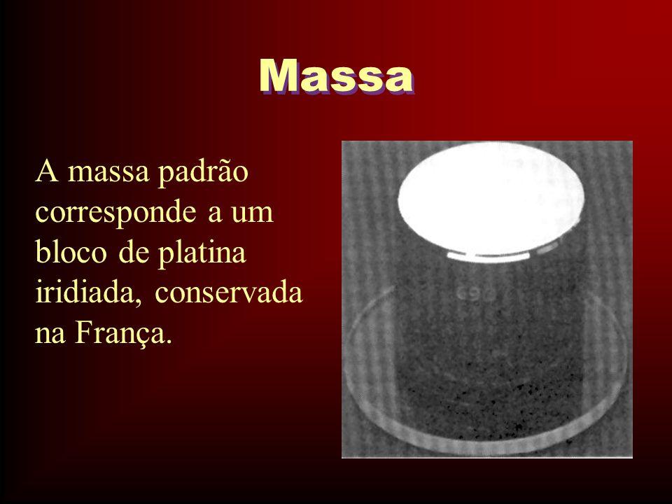 Massa A massa padrão corresponde a um bloco de platina iridiada, conservada na França.