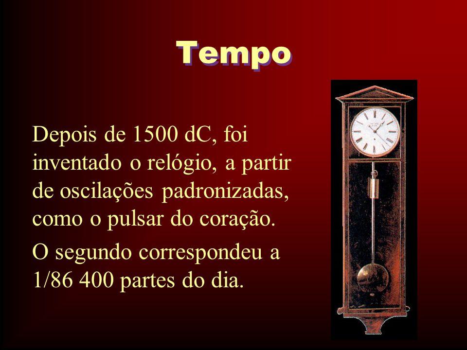 Tempo Depois de 1500 dC, foi inventado o relógio, a partir de oscilações padronizadas, como o pulsar do coração.