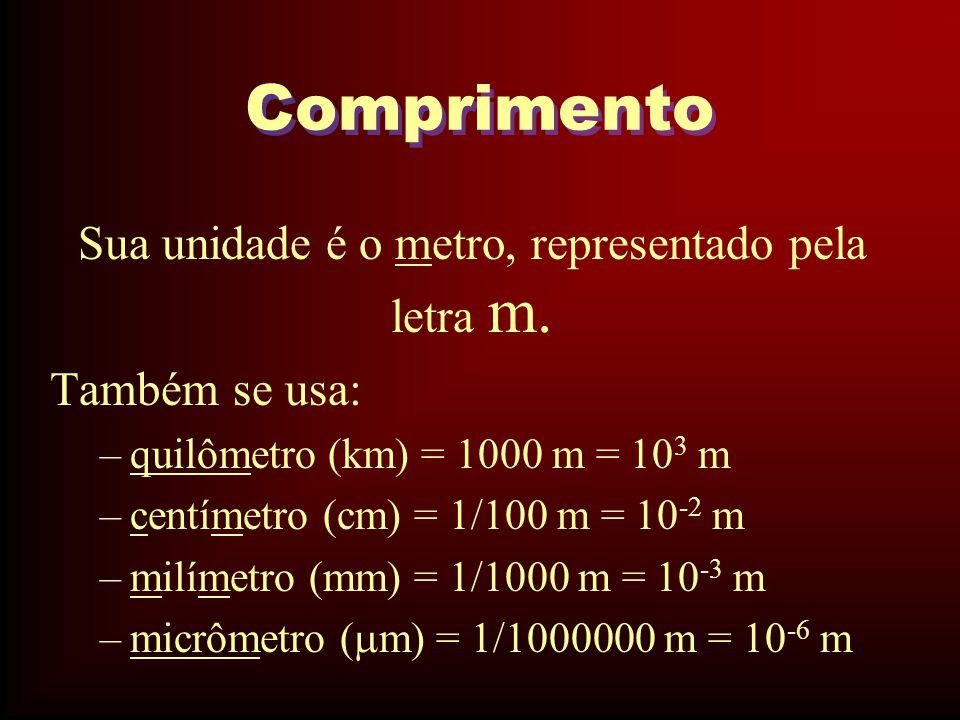 Sua unidade é o metro, representado pela letra m.