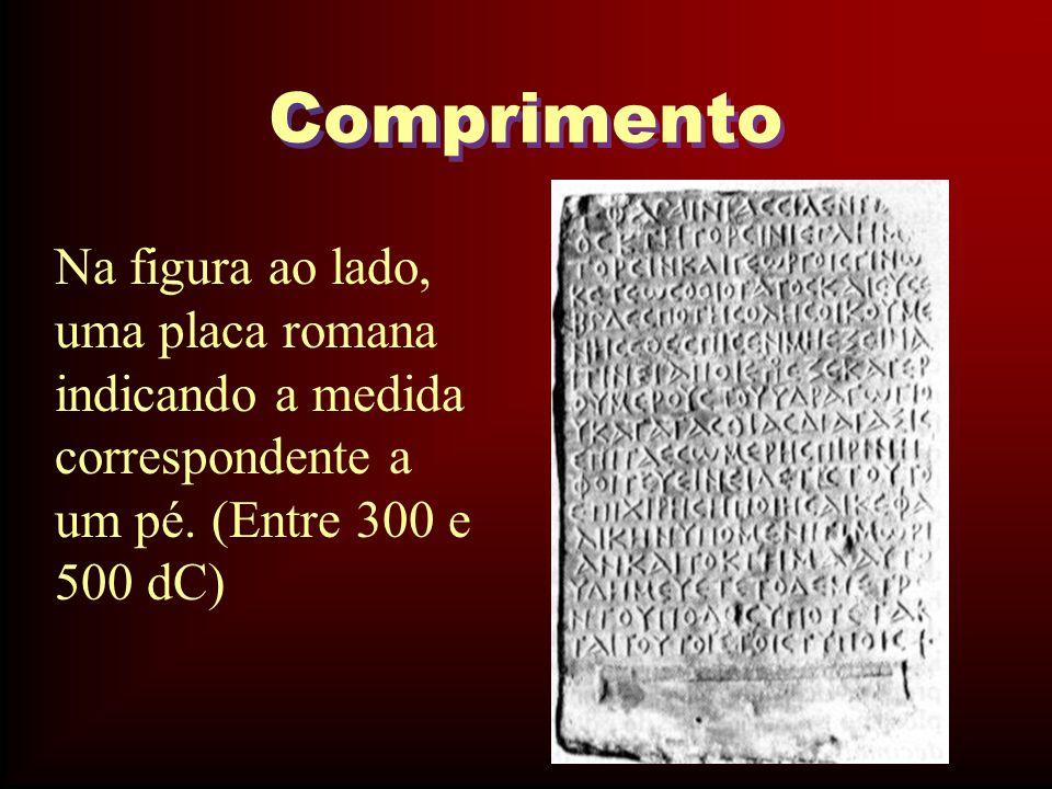 Comprimento Na figura ao lado, uma placa romana indicando a medida correspondente a um pé.