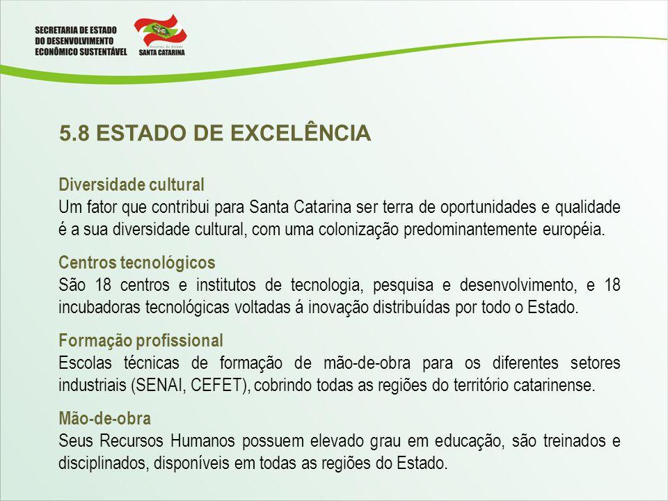 5.8 ESTADO DE EXCELÊNCIA Diversidade cultural