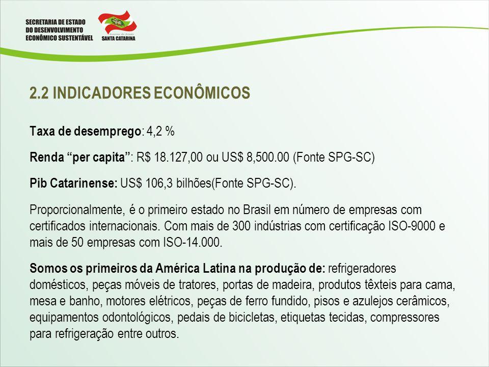 2.2 INDICADORES ECONÔMICOS