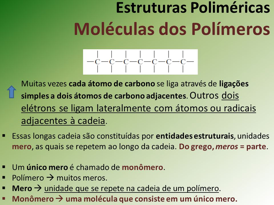 Estruturas Poliméricas Moléculas dos Polímeros