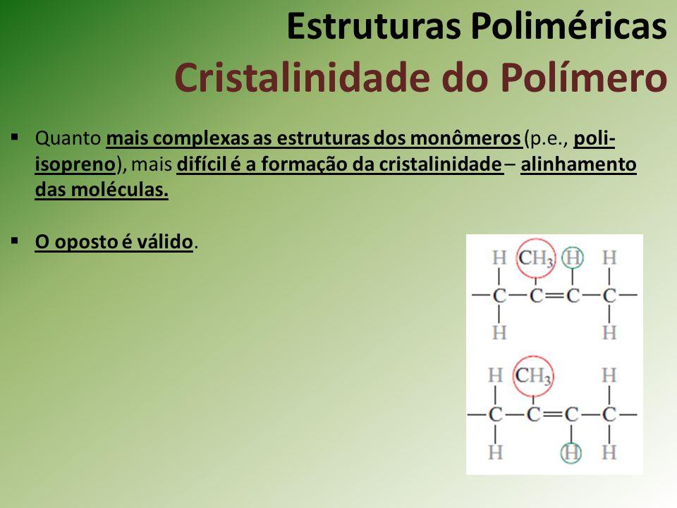 Estruturas Poliméricas Cristalinidade do Polímero