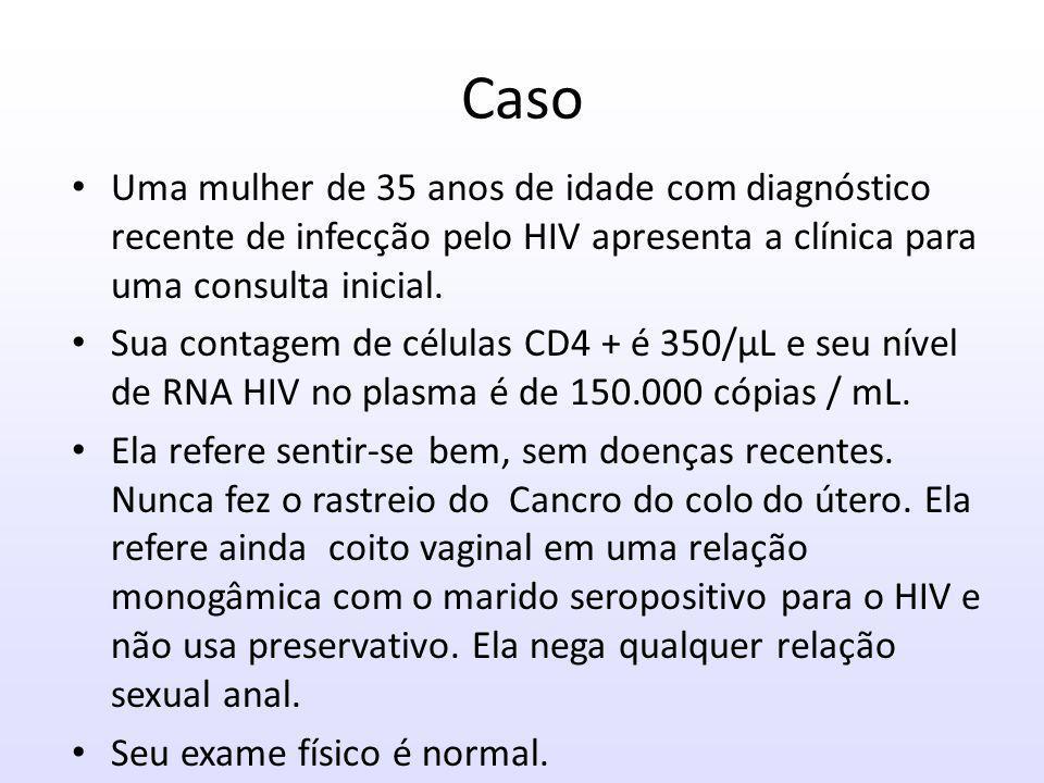 Caso Uma mulher de 35 anos de idade com diagnóstico recente de infecção pelo HIV apresenta a clínica para uma consulta inicial.
