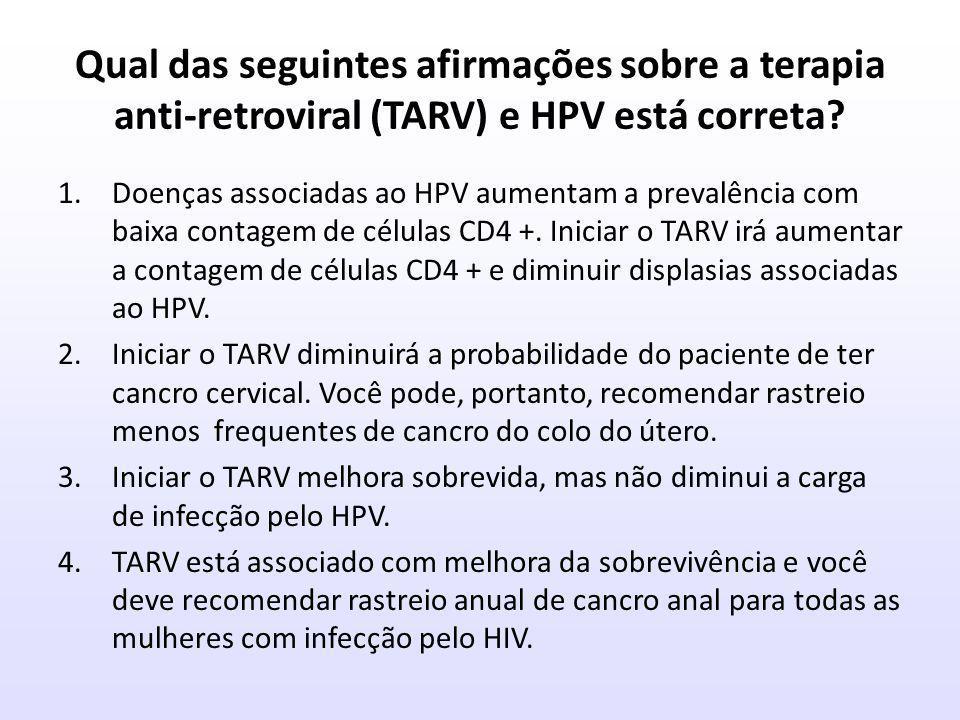 Qual das seguintes afirmações sobre a terapia anti-retroviral (TARV) e HPV está correta