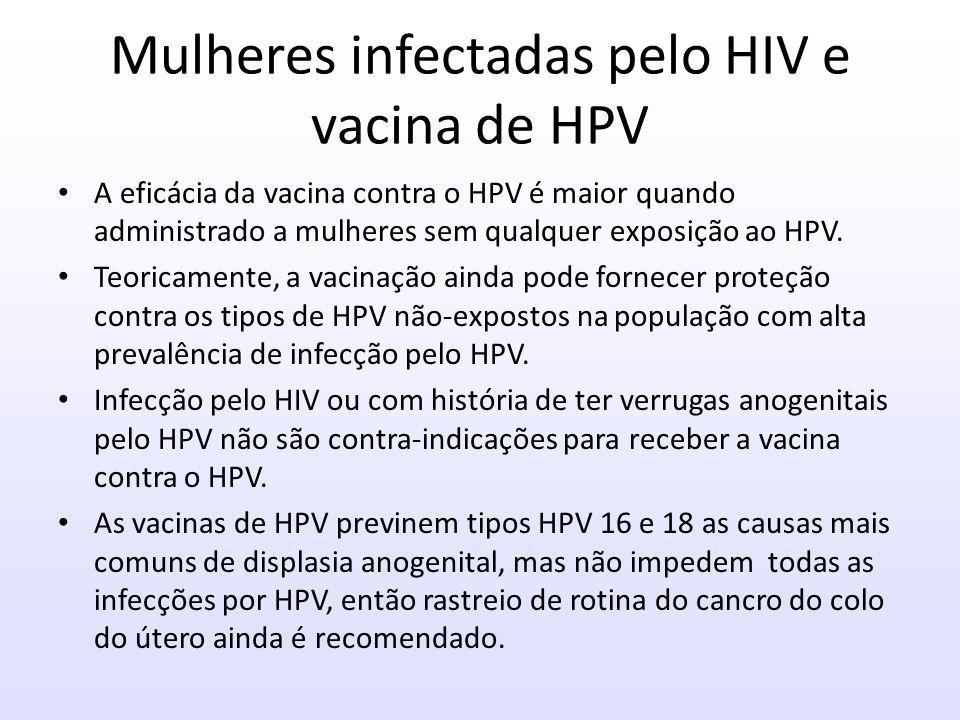 Mulheres infectadas pelo HIV e vacina de HPV