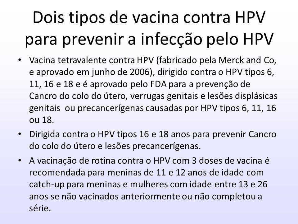 Dois tipos de vacina contra HPV para prevenir a infecção pelo HPV