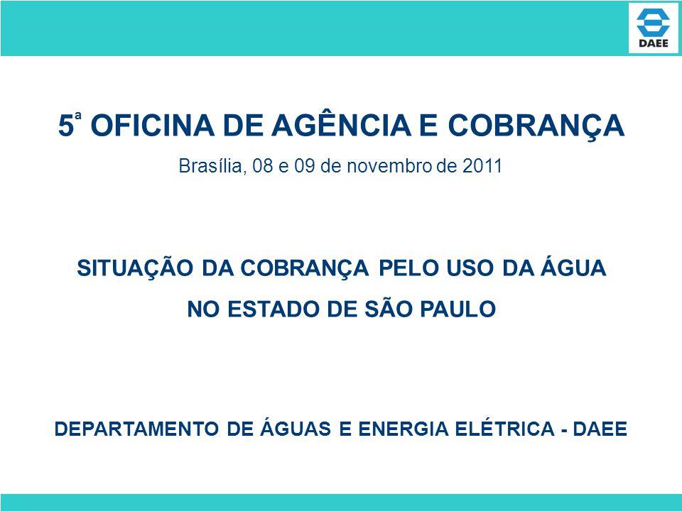 SITUAÇÃO DA COBRANÇA PELO USO DA ÁGUA NO ESTADO DE SÃO PAULO