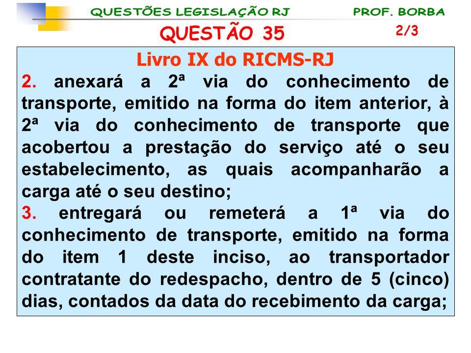 QUESTÃO 35 Livro IX do RICMS-RJ