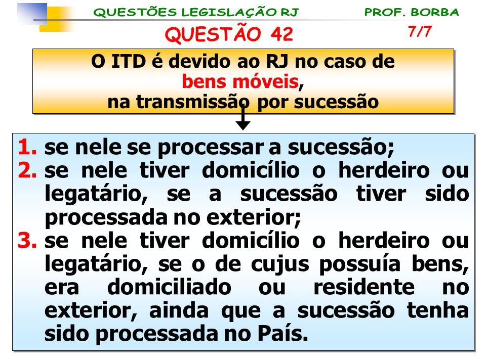 O ITD é devido ao RJ no caso de na transmissão por sucessão