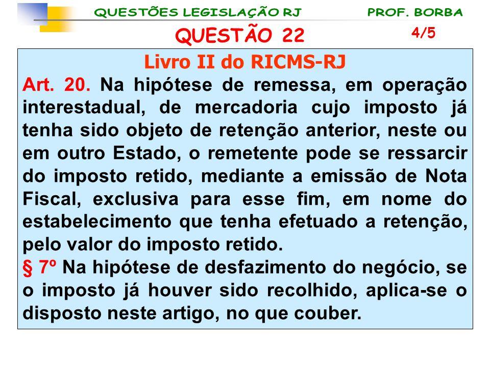 QUESTÃO 22 Livro II do RICMS-RJ