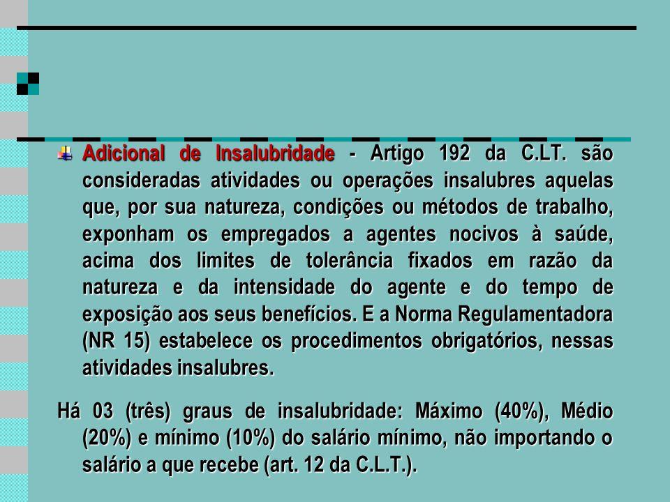 Adicional de Insalubridade - Artigo 192 da C. LT