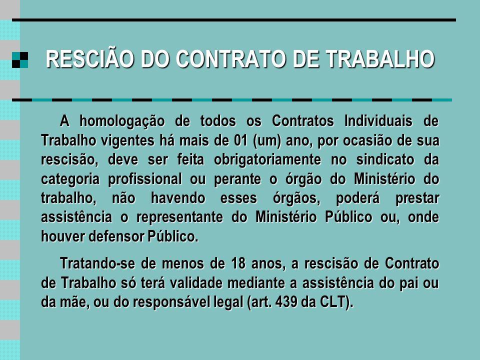 RESCIÃO DO CONTRATO DE TRABALHO